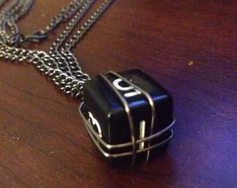 Black Dice Double Chain Necklace
