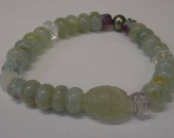 Milky Aquamarine in green Flourite rock crystal quartz flower SW Pearl