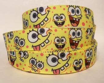 """1, 5, 10 or 20 Yards - 7/8"""" Spongebob Square Pants Grosgrain Ribbon"""