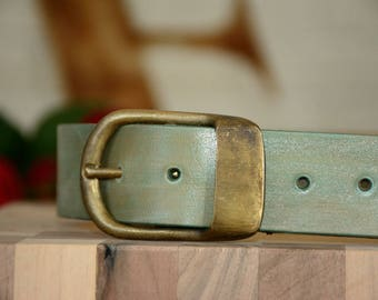 "Men's Leather Belt, 1.5"" wide with Solid Buckle, GREEN Natural Belt, Handmade Belt, Mens Tan Leather Belt, Tan Belt"