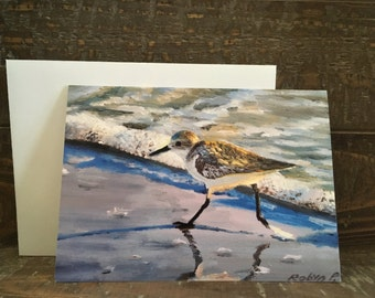 Sandpiper Running - Blank note cards with envelopes, Handmade note cards, Greeting cards, original art work