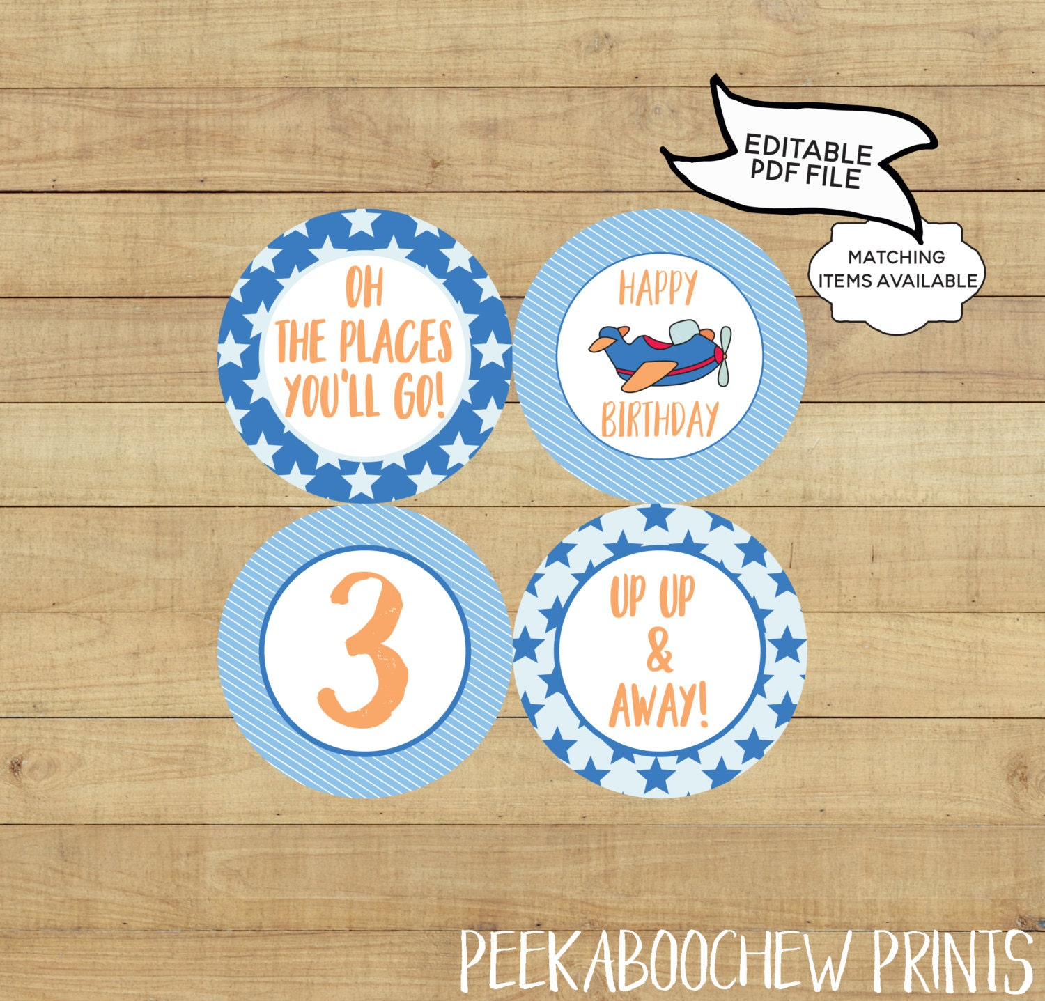 Airplane Party Cupcake Toppers Editable Printable World Traveller