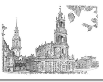 Castle Square in Dresden - original signed art print