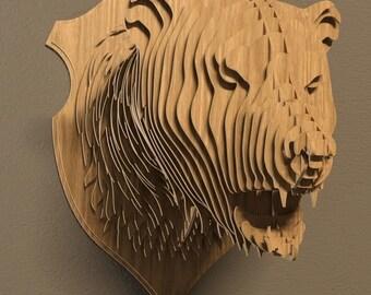 Bear head 3D puzzle-animals ,CNC ,decoration,decorative ,bear ,head ,interior,souvenir  ,trophy ,wall ,wood, wooden vector graphic,laser