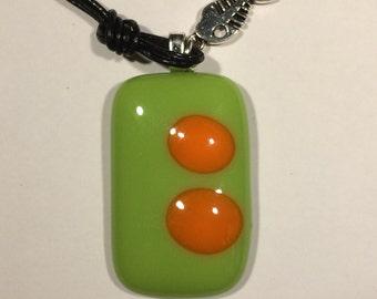 Funky rectangular green fused glass pendant