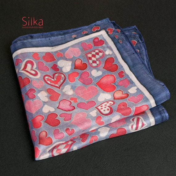 Valentines gift FOR HIM  Valentines day Hand painted silk pocket square  Gift for him RED pocket square silk pocket square Valentines  gift
