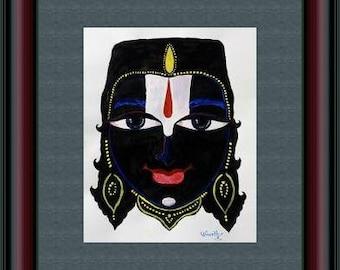 Tirumala Srinivasa Eyes - Acrylic Painting on Paper, Original Hand Painting