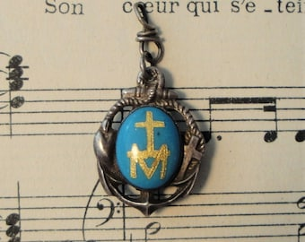 Antique French Sterling Silver Enameled Religious Pendant (Anchor, Madonna)c1890