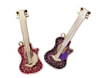 Alloy Guitar Pendant with Rhinestone