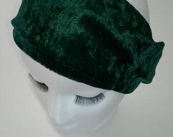 Hunter Green Velvet Panne Turban Headband