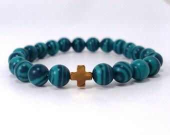 Children's  Bracelet - Malachite,Handmade Bracelet for Children,Hematite Cross,Children's  Gemstone Bracelet,Kids Bracelet,Gift for Children