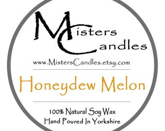 Honeydew Melon - 8oz 100% Natural Soy Wax Scented Candle - 30 hour burn time. Birthday Present, Gift for her