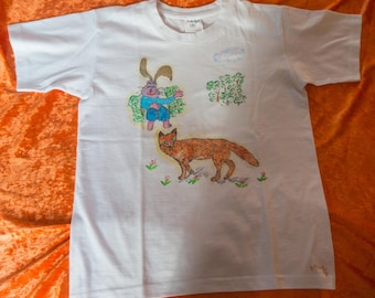 T-Shirt for kids 7 / 8 years, pattern drawn by hand, Fox and rabbit, 2 friends, animals