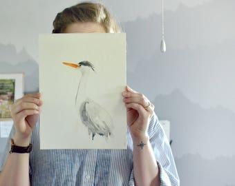 Gray Heron Watercolor Painting