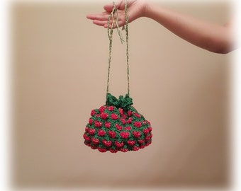 Crochet Strawberry Drawstring Little Bag