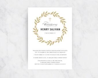 Elegant Wreath Christening Invitation | Christening Invites | Baptism Invitations | Boy or Girl