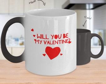Color Changing Coffee Mug - Happy Valentines Day - Romantic Mug - Heat Changing Mugs - Custom Coffee Mugs - Valentine Gift - Gift Her