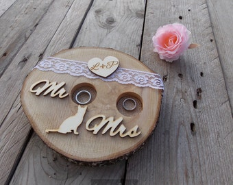 "Ring bearer ""Mr"" & ""Mrs""; Heart with initials; Cat, wedding, wedding decoration, wedding accessories"