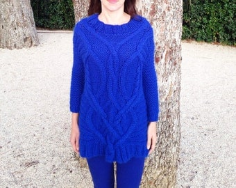 Hand knit sweater, alpaca sweater, cable knit sweater, blue sweater, oversize sweater, knit sweater, wool sweater, knit sweater woman