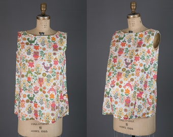 vintage 1950s maternity top | novelty print blouse