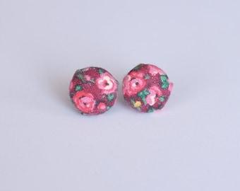 Rose print fabric stud earrings - small