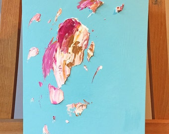 Ice Cream Smash I - Original Acrylic Abstract Painting on Wood Panel