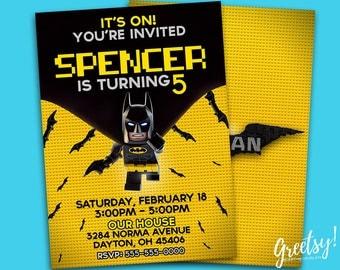 The Lego Batman Invitation, The Lego Batman Birthday, The Lego Batman Party, The Lego Batman Invite, Lego Invite, Batman, The Lego Batman