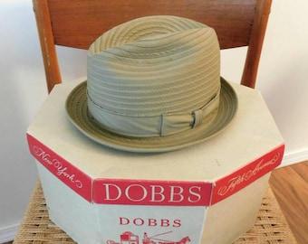 Vintage 1950s 1960s men's  DOBBS POCKET HAT New York City famous hats original dOBBS hat box