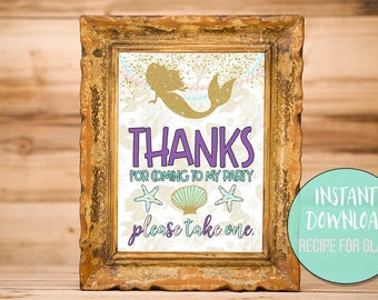 Thanks For Coming To My Party Printable Sign - Mermaid Gold, Aqua, Purple, Glitter - 8x10 - Instant Download - Mermaid-A02