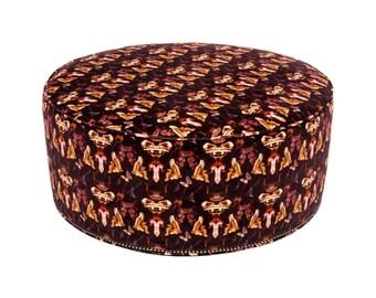 UNIQUE!! CUSTOM! Beautiful Large Round Ottoman in European VELVET Burgandy Fabric