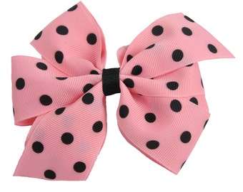 Pink and Black Polka Dot Girls Boutique Boutique Hair Bow