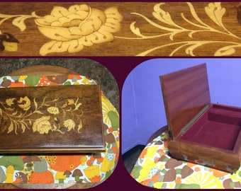 """Vintage Music Box with Intricate Wood Inlay (""""Always"""") (for Jewelry/Keepsakes)"""