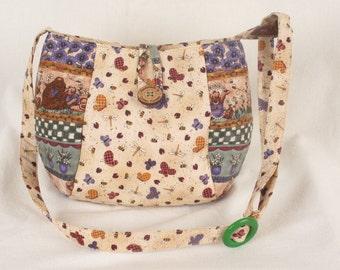 Handmade Fabric Bears and Bees Crossbody Bag
