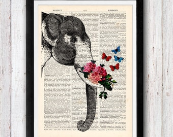 Elephant Flower Roses with butterflies print vintage dictionary page book art print