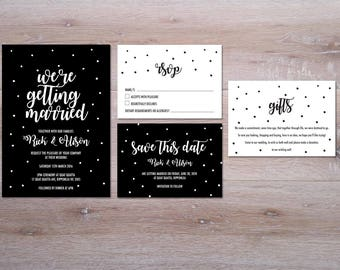 Modern typography Wedding Invitation // printable wedding suite // Black & White, cute and elegant design for you to print yourself!
