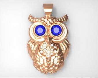 Magic owl silver pendant made to order