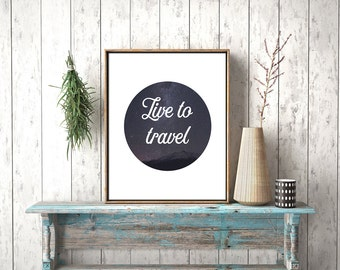 Travel quote night sky print instant download printable art
