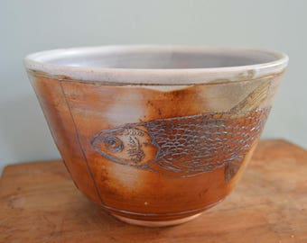 Large Serving Bowl, Handmade Pottery, Woodfired Fish, Earthtones