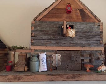 BARN BIRDHOUSE- Made of Old barnwood Comes with Farm Use Only Truck-Handcrafted Unique
