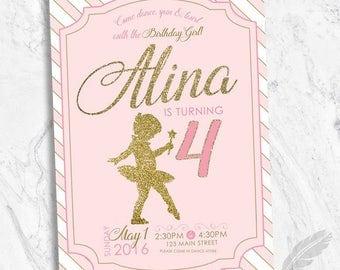 Ballerina Ballet Birthday Party Invitations , dance, pink, gold glitter, printable
