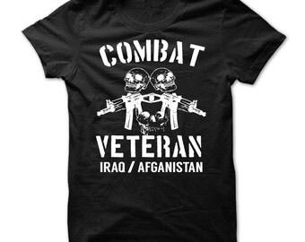 COMBAT VETERAN IRAQ T-Shirt.combat veteran afganistan t-shirt,combat veterans t-shirt,iraq war veterans tee,afganistan war veterans t-shirt.