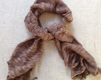 Cotton and Silk Fair Trade Scarf TAUPE Handwoven
