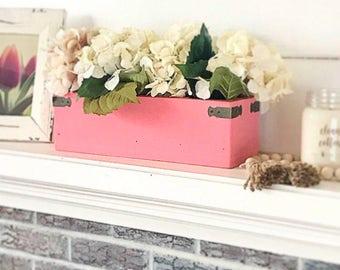 Coral Wooden Box Centerpiece, Makeup Organizer, Makeup brush holder, Bathroom Storage, Spring Decorations,  Fireplace Decor,