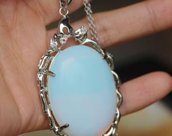antique silver Victorian style moonstone necklace wedding jewelry bridesmaid gift