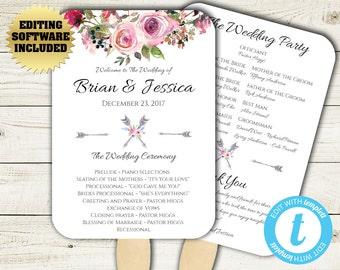 Boho Wedding Program Fan Template - Floral Program Fan - Printable Program Template - DIY Wedding Program - Flower Wedding fan program