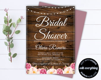 Rustic Bridal Shower Invitation - Country Bridal Shower Invite - String Lights Printable Invitation - Rustic wedding shower invite