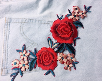 red rose/free shipping iron on embroidery patch/blue leaves