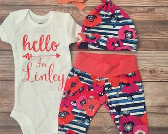 Hello I'm New HereStripe and Floral Coming Home Outfit,Hello World Baby, Baby Shower Gift, Stripes and Floral, Hello I'm New Here