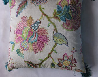 "Embroidered cushion ""Erell"" cotton and linen, 48 x 48"
