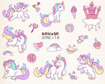 Unicorn clipart, unicorns graphics, Fantasy Clipart, rainbow digital clip art, digital image